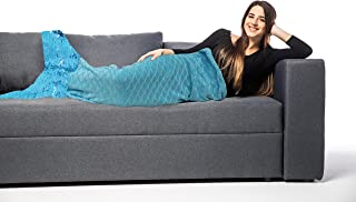 Posh Home Mermaid Sequin Tail Throw Blanket Soft Warm Comfortable Flannel Perfect Adults and Children All Season Gift (Aqua)