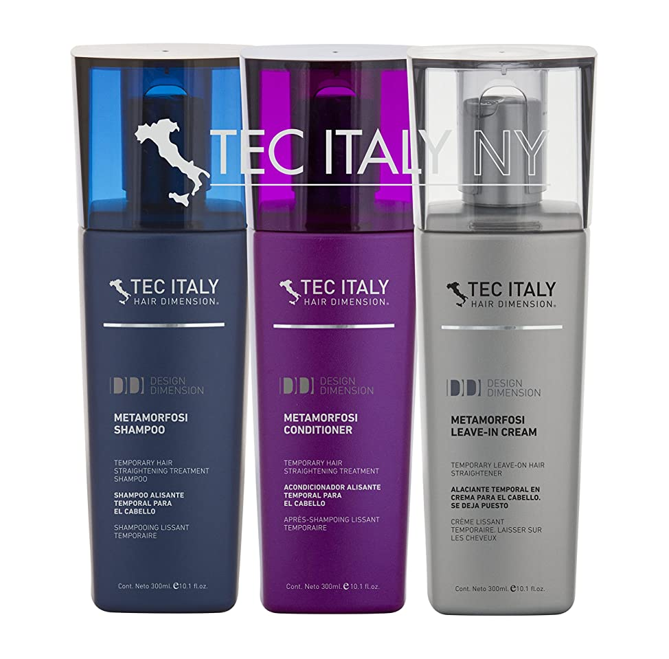 Tec Italy Straightening Pack: Metamorfosi Shampoo 10.1 Oz. + Metamorfosi Conditioner 10.1 Oz. + Metamorfosi Leave in Treatment 10.1 Oz. by Tec Italy