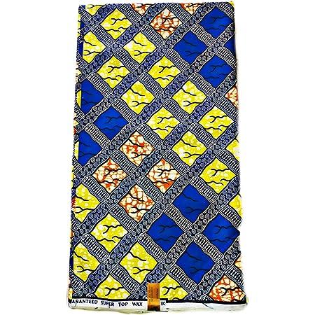 PHEONIX Tissu PAGNE Wax Africain Cire Imprime Original 100/% Coton,6YARDS,Soit 5,48m