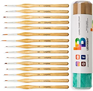 Miniature Paint Brushes by LEDGEBAY | 15 Piece Fine Tip Brush Set for Micro Detail | Hand Crafted, Perfectly Balanced and Weighted Wood Handles, Taklon Bristles for Model, Acrylic, Oil, Watercolor