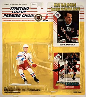 1993 - Kenner / Hasbro - NHL - Starting Lineup - Rare 1st Year Edition - Mark Messier / New York Rangers Action Figure - w/ 2 Trading Cards - All Mint - Out of Production - Limited Edition - Collectible