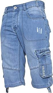 Enzo Mens Combat Shorts Cargo Pockets Casual Knee Length Jeans Denim Pants