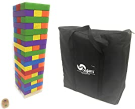 Giant Colorful Tumbling Timber Tower with Dice and Carry Bag