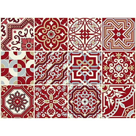 The Nisha 24 PC Pack Art Eclectic Peel and Stick Wall Sticky Backsplash Vinyl Waterproof Removable Tile Sticker Decals for Bathroom & Kitchen, 4x4 Inch, Maroon Red 1276