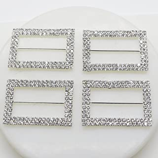 AngHui ShiPin 10pcs 40X28mm A-Grade Silver Rectangle Shape Double-Breasted Rhinestone Buckle Diameter 5cm for Chair Sash Bow DIY Craft Supply for Wedding Decoration Clothes&Shoes Accessories