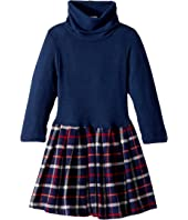 fiveloaves twofish - Little Knit Flannel Dress Navy Plaid (Toddler/Little Kids)