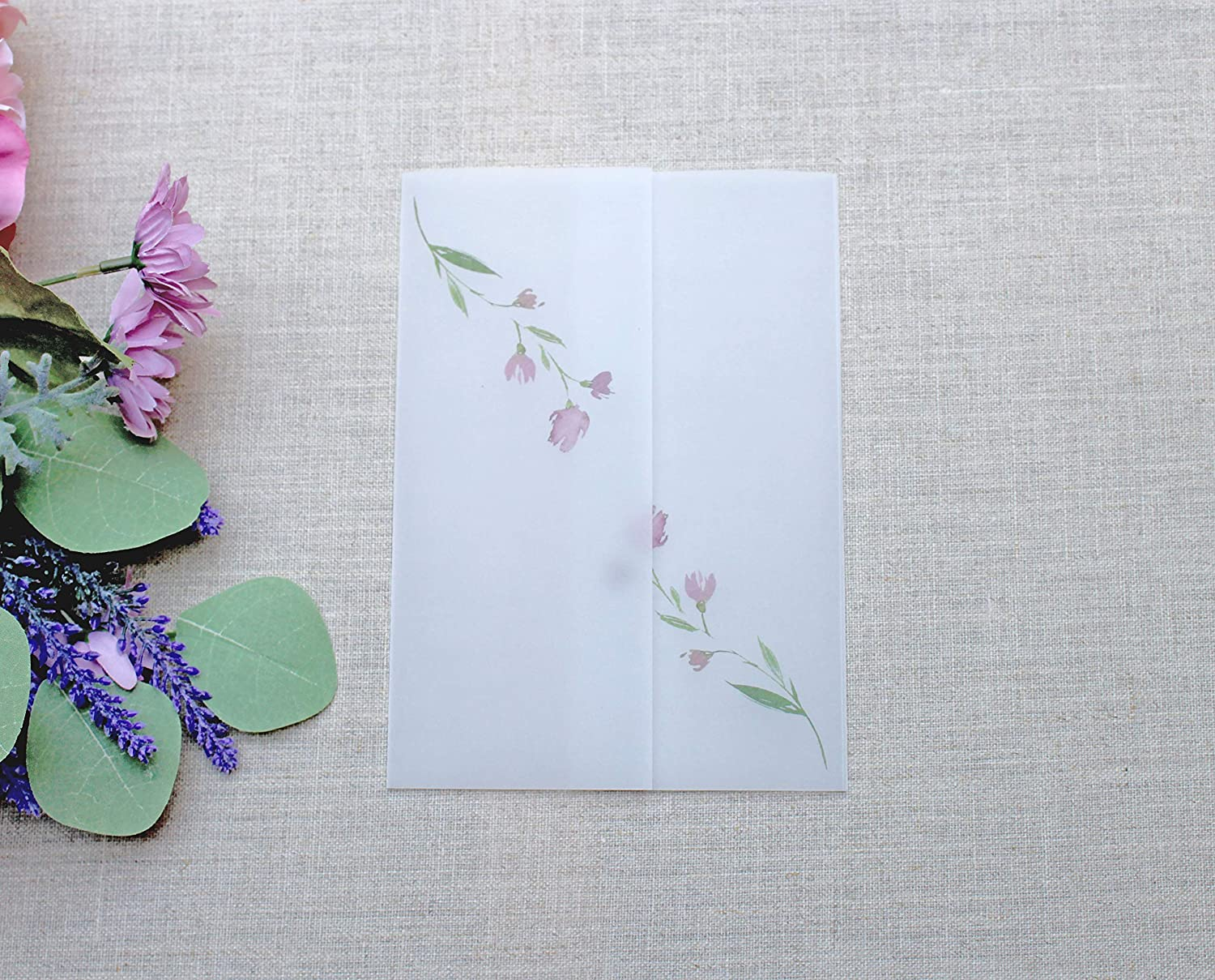 Floral Vellum Jacket For 5 x and Cards Invitations shipfree 7 Seasonal Wrap Introduction Wedding