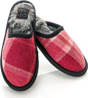 Womens Wool Tartan Faux Mink Fur Home Slippers