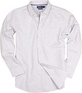 Long Sleeve Striped Button Down Cotton Oxford Shirts for Men