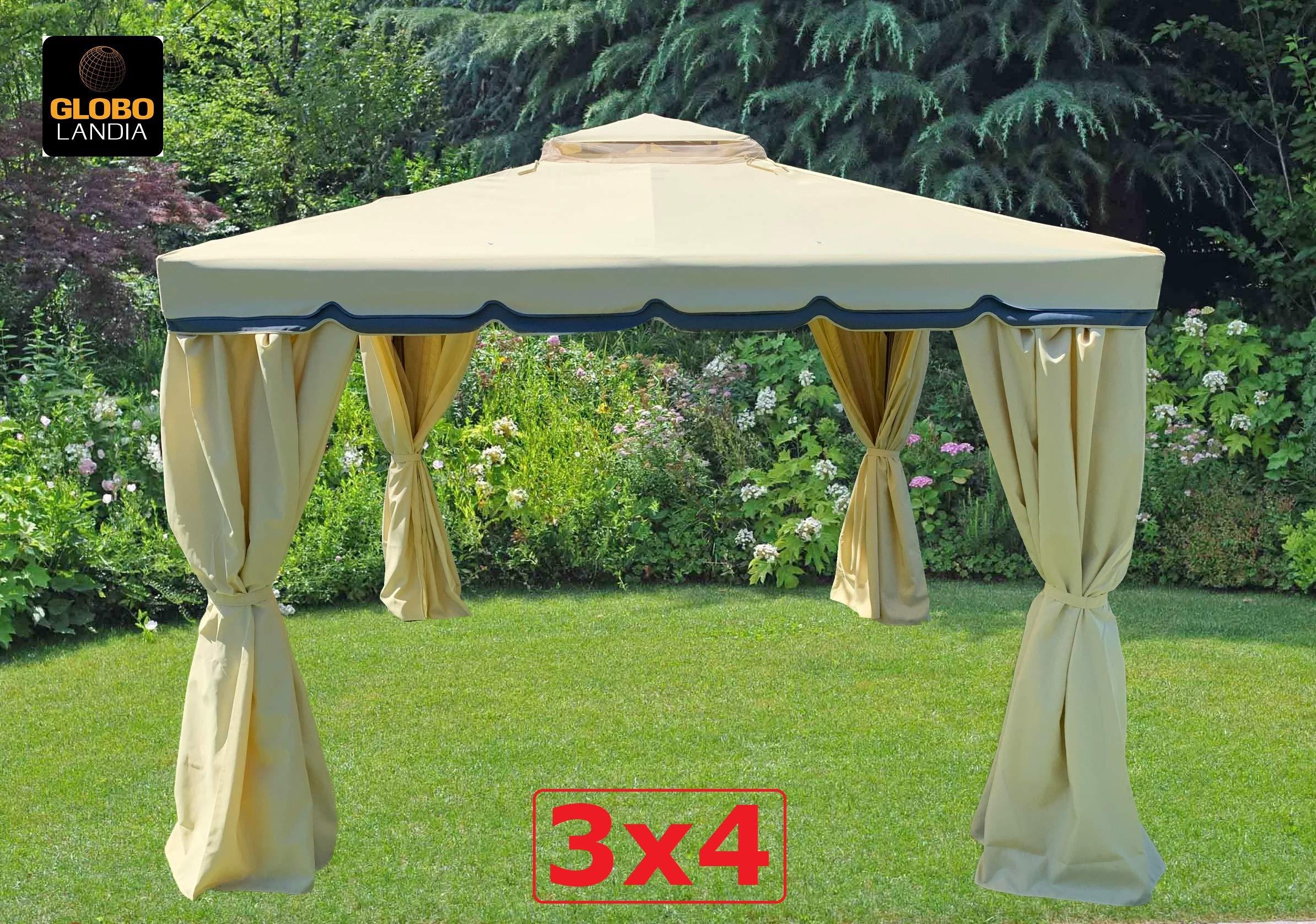 Eurolandia s.r.l. - Cenador de jardín - Modelo 676165 - Medidas 3 x 4 mt - Estructura de aluminio - Techo de PVC (policloruro de vinilo) de 400 gr - Impermeable - Mosquiteras laterales: Amazon.es: Hogar