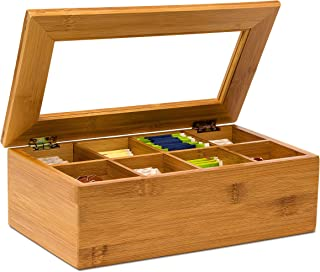 Relaxdays Caja para bolsitas té, Bambú, 8 Compartimentos, 9 x 28 x 16 cm, 0.8 Kg, Madera, marrón Claro