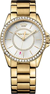Juicy Couture Women's Quartz Watch, Analogue Classic Display and Gold Plated Strap 1901409, Gold Band