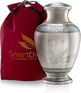 """(Adult) - """"Wings of Freedom"""" Brass Cremation Urn for Human Ashes - Affordable Funeral Urn Adult Urn for Ashes Handcrafted Urn (Adult)"""