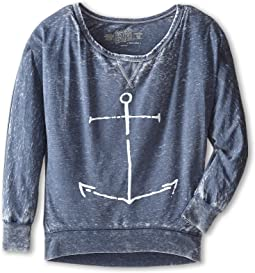 The Original Retro Brand Kids - Anchor Burnout Long Sleeve Tee (Little Kids/Big Kids)