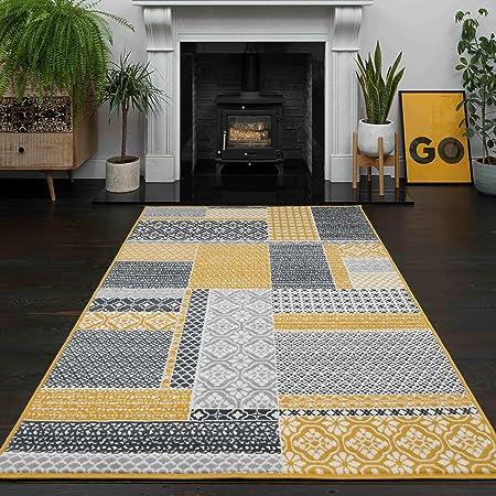 The Rug House Tapis de Salon Traditionnel Milan Motif Patchwork Ocre Gris Beige et Jaune Moutarde 120cm x 170cm