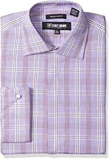 Stacy Adams Men's Window Pane Check Classic Fit Dress Shirt