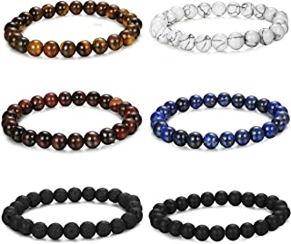 6PCS Bead Bracelets for Men Women Natural Stone Mala Bracelet
