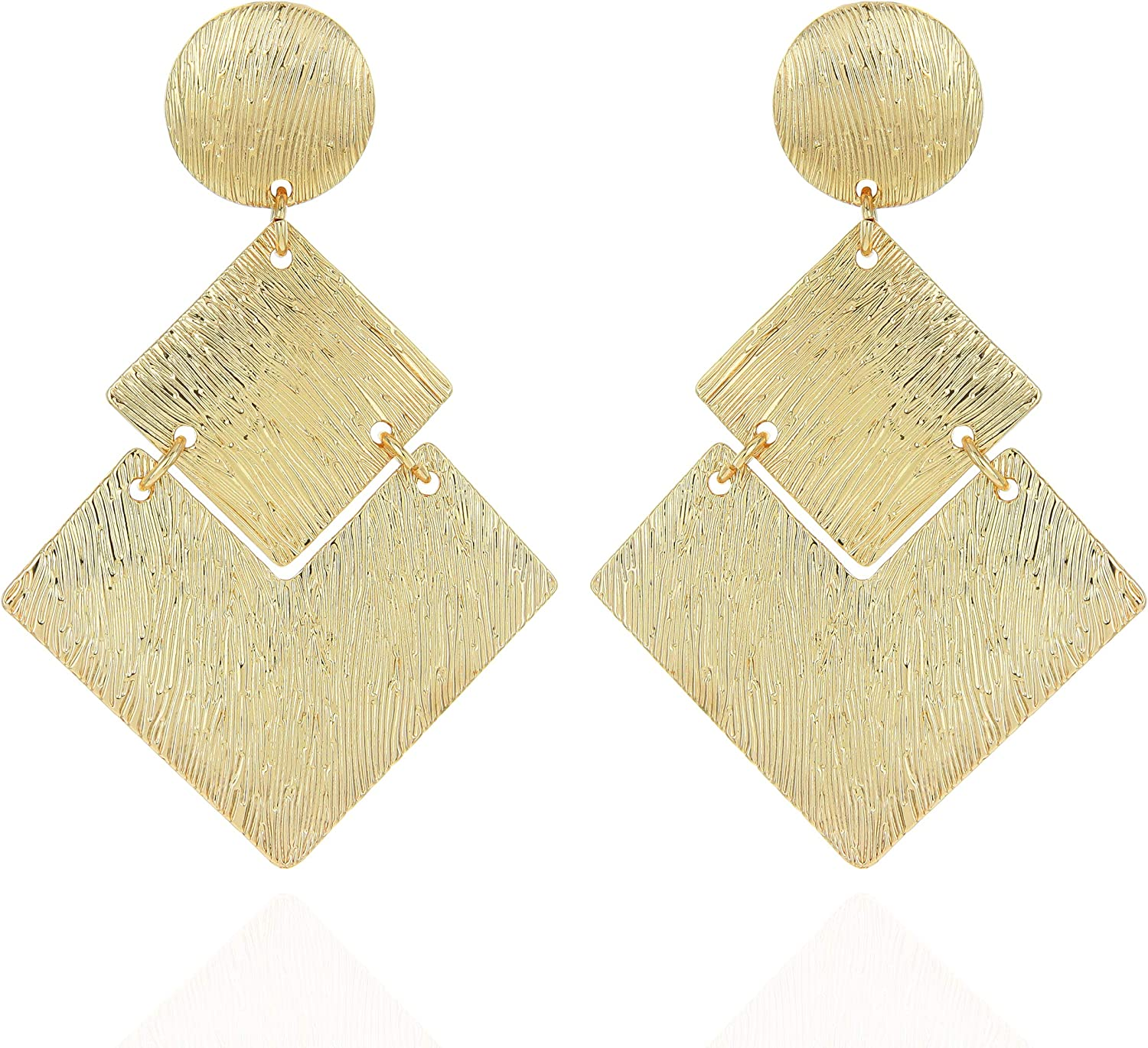 SP SOPHIA COLLECTION Women's Edgy Geometric Etched 3 Tiered Plated Clip On Earrings