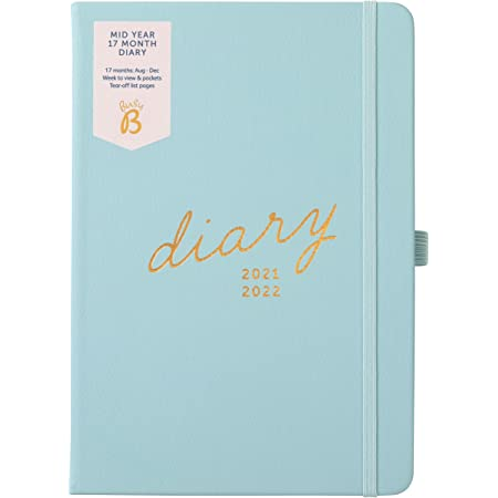 Busy B Mid-Year 17 Month Diary August 2021 - December 2022. Blue Faux Leather Academic Diary 2021-2022 A5 Week to View Planner with Pen Holder, Elastic Closure and Storage Pockets
