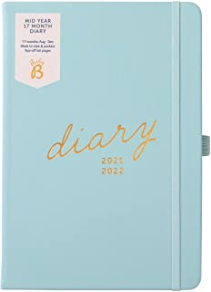 Busy B Mid-Year 17 Month Diary August 2021 - December 2022. Blue Faux Leather Academic Diary 2021-2022 A5 Week to View Pla...