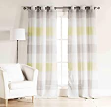 Set of Two (2) Gray, Yellow and White Sheer Window Curtain Panels: Cabana Stripe, Grommets (Panel Pair (2) 112