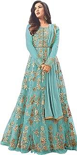 SHAFNUFAB Women's Net Semi Stitched Anarkali Salwar Suit (designer_partywear_salwarsuit_SF 6 Var Sky Blue1 Free Size)