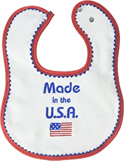 Raindrops Embroidered Bib, Made in USA, Red