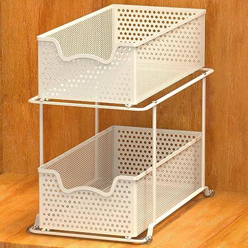 discount Simple Houseware 2 Tier online Sliding outlet sale Cabinet Basket Organizer Drawer, White outlet sale