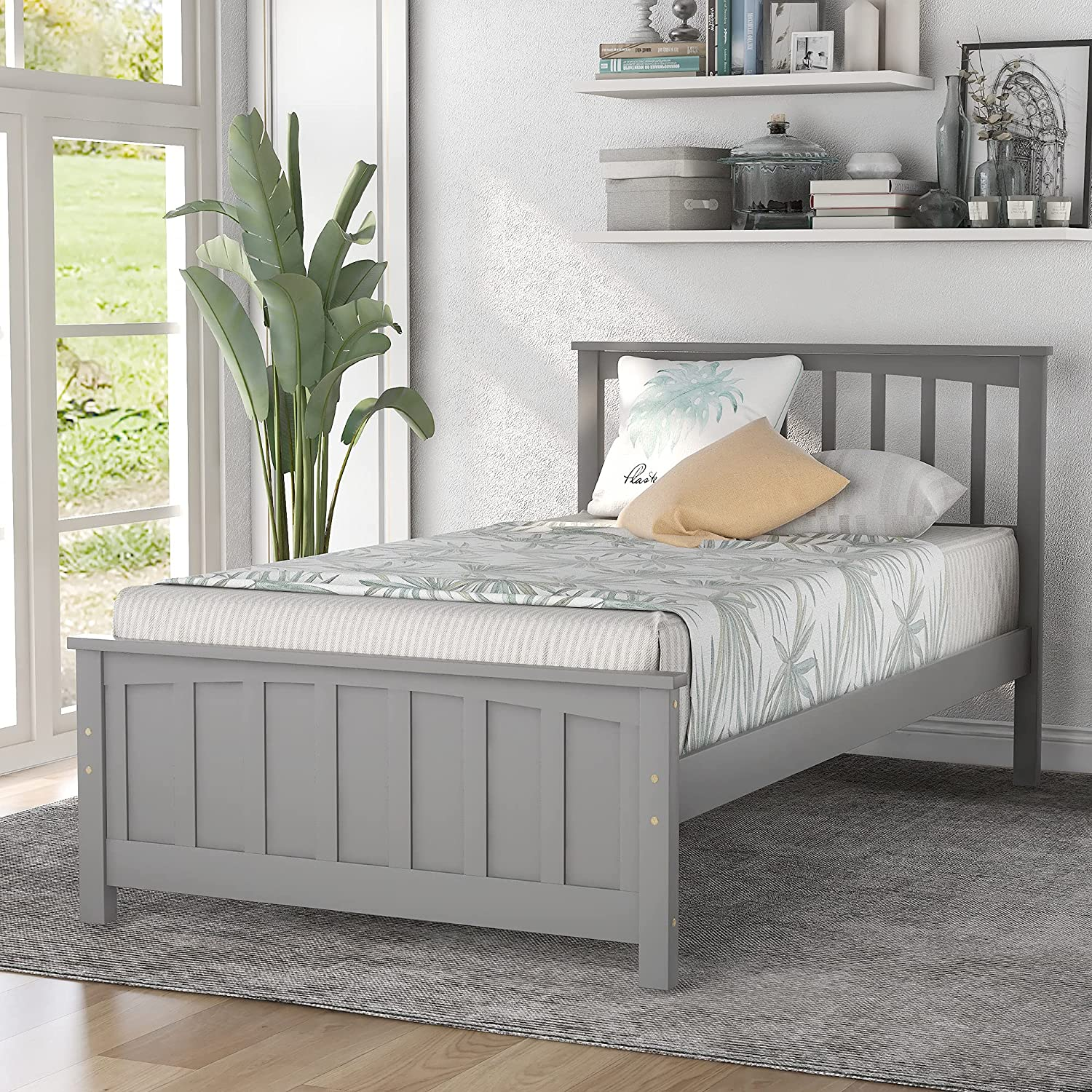 Industry No. 1 Solid Wood Jacksonville Mall Twin Size Platform Bed Frame with Headboard