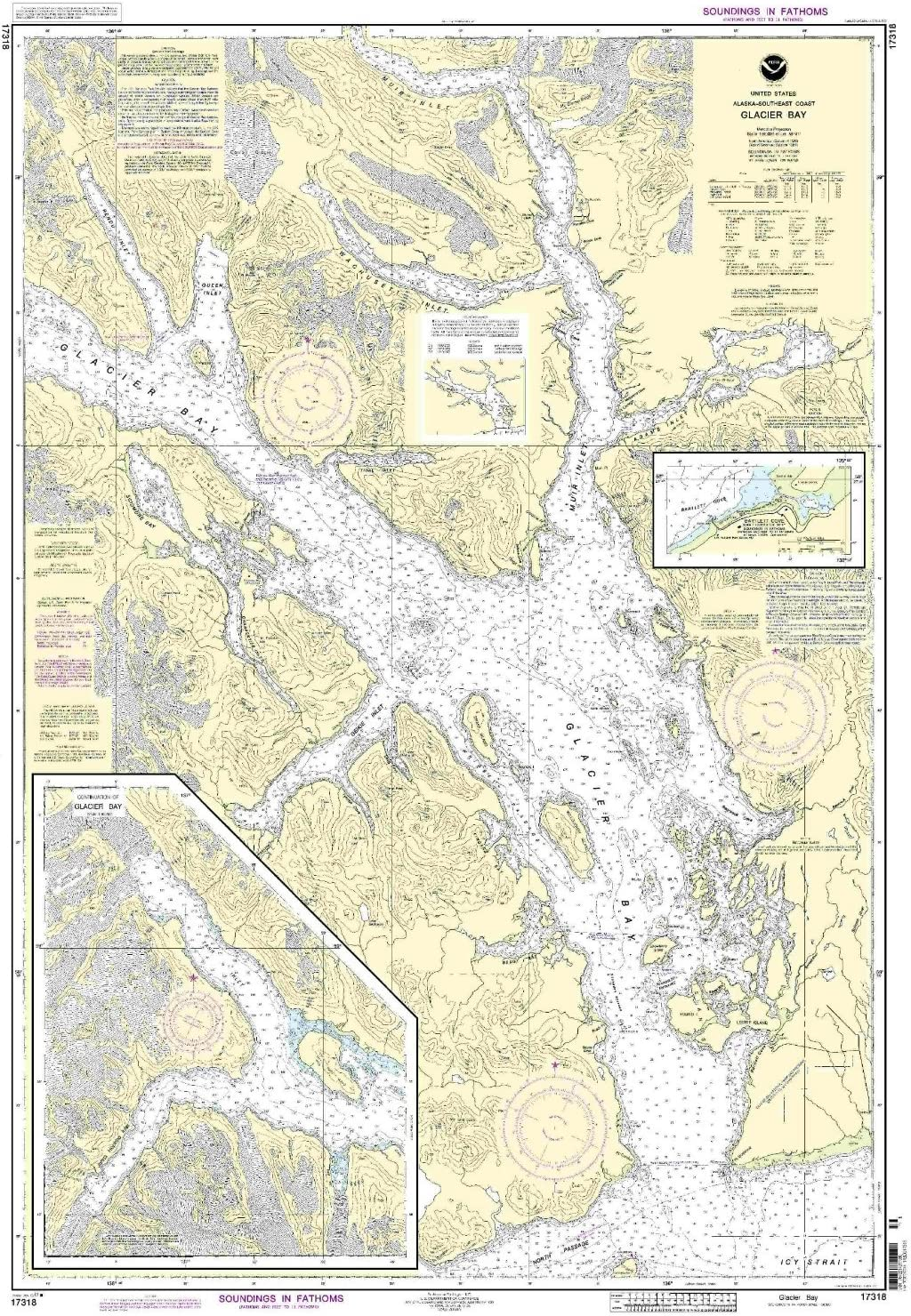 NOAA Print-On-Demand chart Super sale period limited Glacier Bay Edit Cove to All items in the store 8th Bartlett