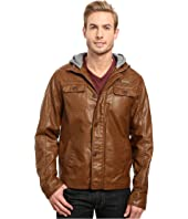 English Laundry - PU Leather Jacket w/ Fleece Hood