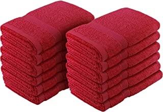 "Crover 12PC Essentials Fast Drying Super Absorbent Terry Cloth 100% Cotton Salon Towel, Kitchen Hand Towel Burgundy 16""x27"""