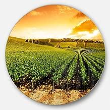 "Designart MT10765 C23 Sunset Vineyard Panorama Round Landscape Metal Wall Art Disc, 23"" x 23"""