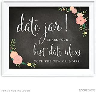 Andaz Press Wedding Party Signs, Chalkboard Pink Coral Floral Roses Print, 8.5x11-inch, Date Jar Share Your Best Date Idea with The New Mr. & Mrs. Sign, 1-Pack