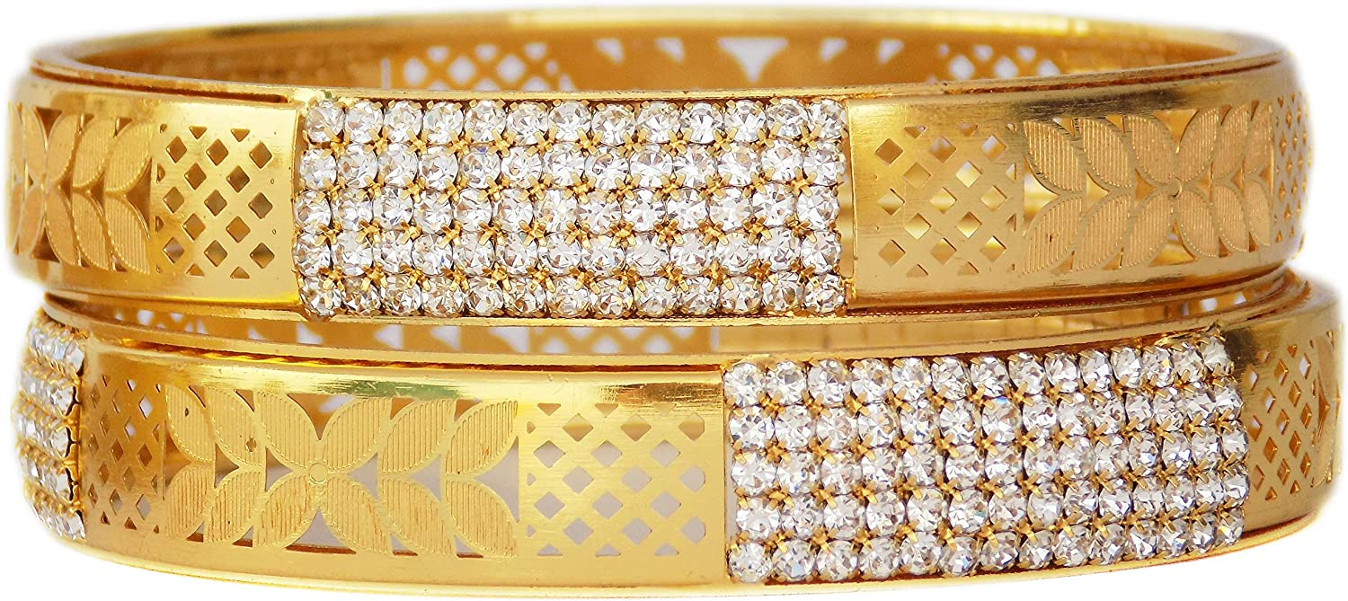 JD'Z COLLECTION Indian Bridal Wedding Bracelet Bangle Set Jewelry Gold Plated Jewelry Cubic Zirconia,CZ Bangles Set Traditional Bollywood Bangles