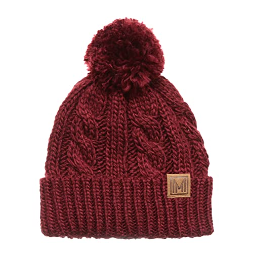 d157fcc4c180a MIRMARU Winter Oversized Cable Knitted Pom Pom Beanie Hat with Fleece  Lining.