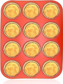 Philonext Pan - Bandeja roja de silicona con 12 huecos para magdalenas, no se pega, uso seguro en lavavajillas y microondas, 32,7 x 24,5 x 2,8 cm