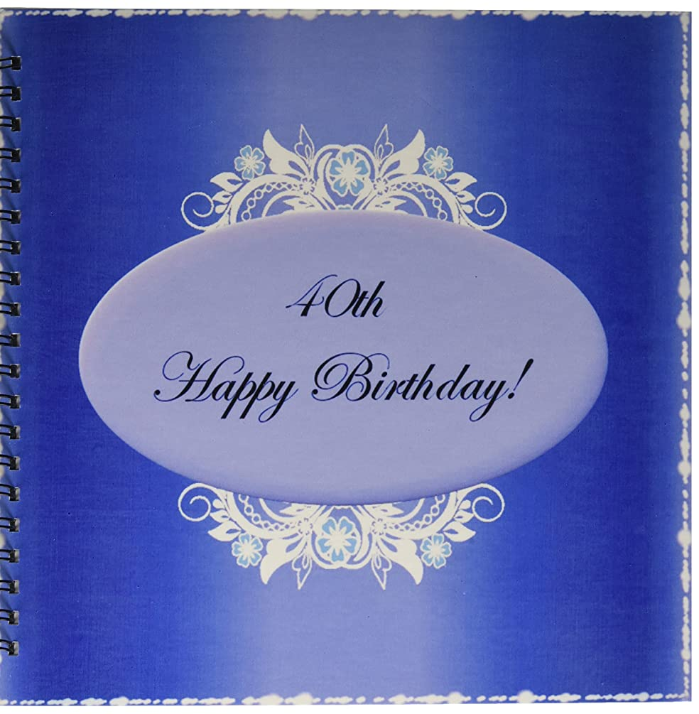 3dRose db_38875_2 Dark Blue 40Th Birthday Memory Book, 12 by 12-Inch