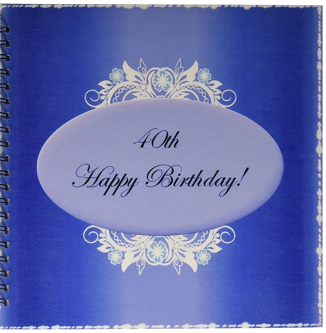 3dRose db_38875_2 Dark Blue 40Th Birthday Memory Book, 12 by 12-Inch