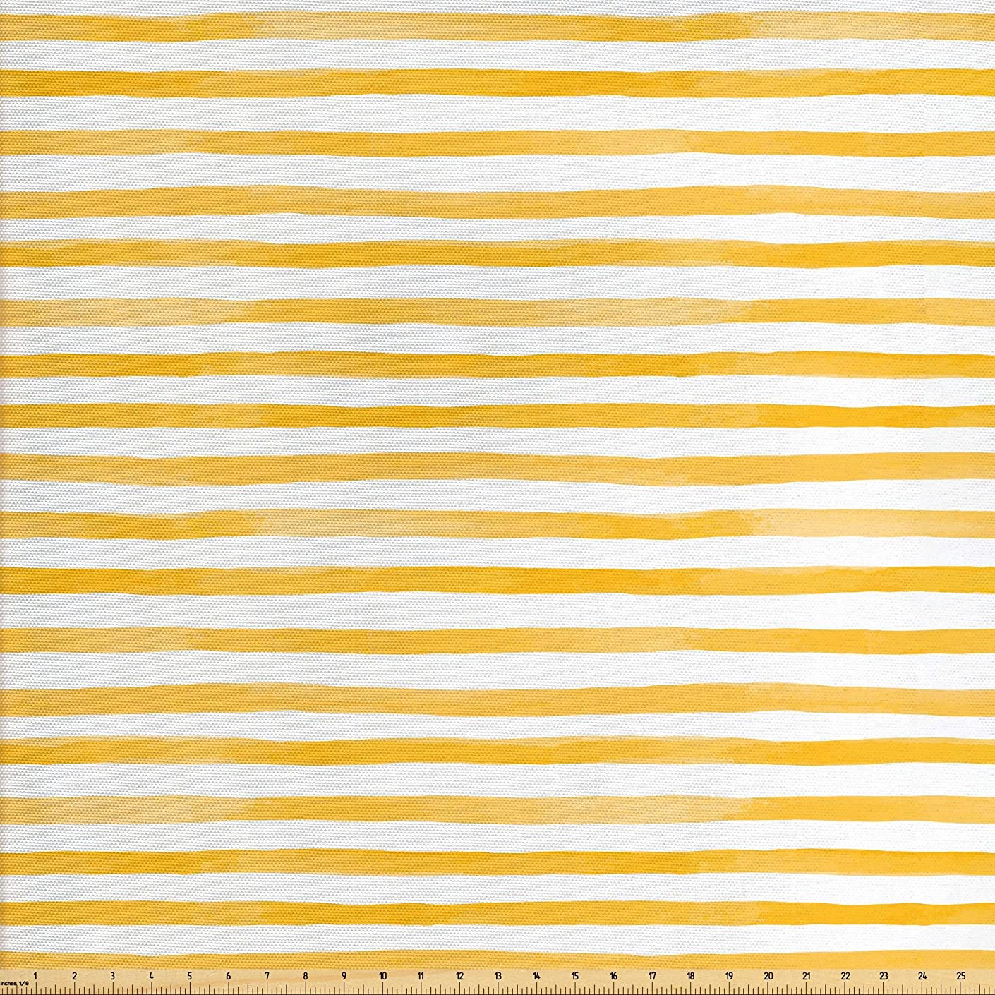 Lunarable Striped Fabric by The Yard, Watercolor Style Uneven Stripes Pattern with Yellow Shades Pastel Tone Print, Decorative Fabric for Upholstery and Home Accents, 2 Yards, Mustard White