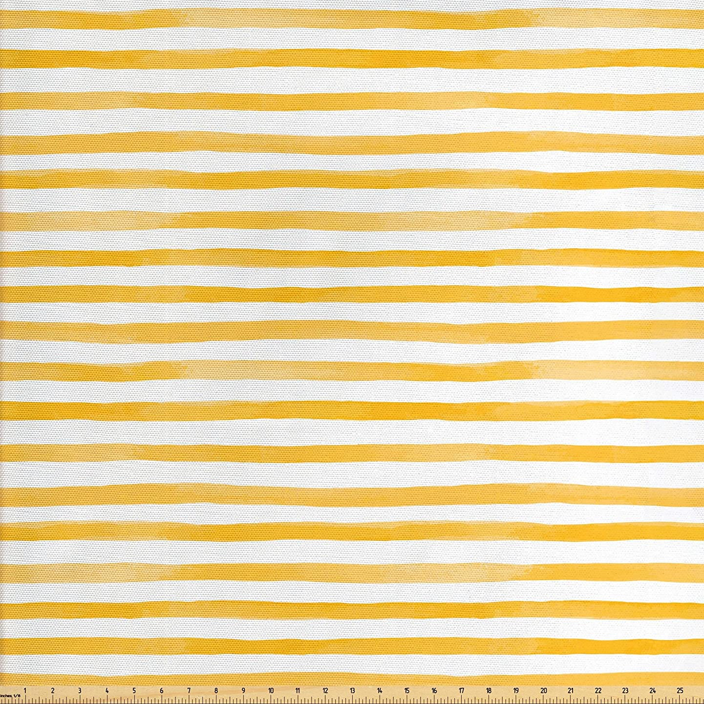 Lunarable Striped Fabric by The Yard, Watercolor Style Uneven Stripes Pattern with Yellow Shades Pastel Tone Print, Decorative Fabric for Upholstery and Home Accents, 1 Yard, Mustard White