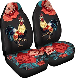 Gnarly Tees Rooster Rose Car Seat Covers