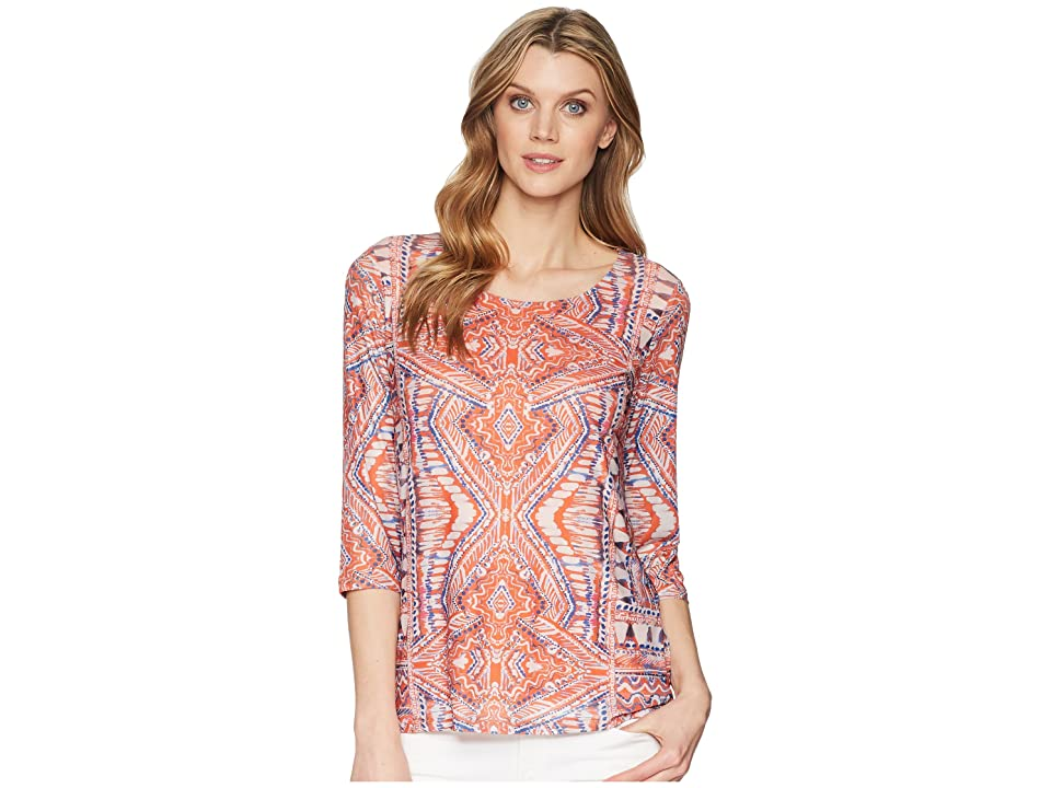 Tribal 3/4 Sleeve Printed Mesh Scoop Neck Top (Fiesta) Women