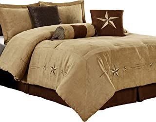 Chezmoi Collection Laredo 7 Pieces Western Star Embroidery Design Microsuede Bedding Oversized Comforter Set (King 108