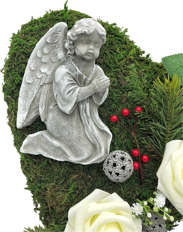 Decorazione tombale per tomba a forma di cuore di muschio con croce o angelo