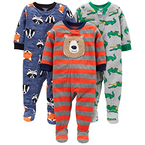 Simple Joys by Carter s Baby and Toddler Boys  3-Pack Loose Fit Fleece  Footed 4ac4c363b