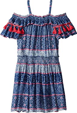 Tile Print Crinkle Gauze Dress (Big Kids)