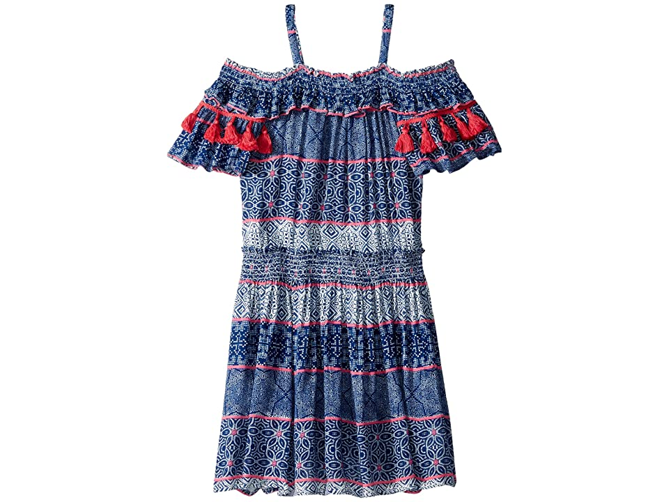 Ella Moss Girl Tile Print Crinkle Gauze Dress (Big Kids) (Blue Estate) Girl