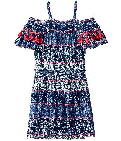 Ella Moss Girl Tile Print Crinkle Gauze Dress (Big Kids) (Blue Estate) Girl