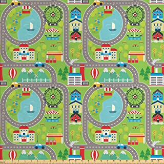 Ambesonne Car Race Track Fabric by The Yard, Cartoon Design Summer City Amusement Park and Lake Roadway Activity, Decorative Fabric for Upholstery and Home Accents, 3 Yards, Green Grey